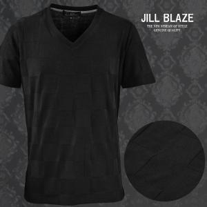 Tシャツ 市松模様 ブロックチェック 無地 Vネック 半袖Tシャツ メンズ(ブラック黒) jb60210|mroutlet