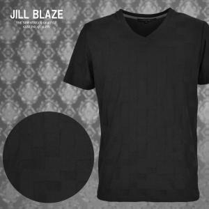 Tシャツ 市松 ブロック チェック イントレチャート Vネック 無地 半袖Tシャツ メンズ(ブラック黒) jb60211|mroutlet