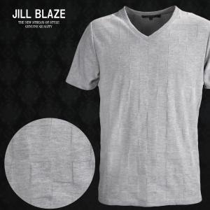 Tシャツ 市松 ブロック チェック イントレチャート Vネック 無地 半袖Tシャツ メンズ(グレー灰) jb60211|mroutlet