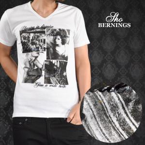 Tシャツ Vネック 女性 セクシー ラメ 外国人 プリント 半袖Tシャツ メンズ(ホワイト白) 340322|mroutlet