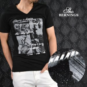 Tシャツ Vネック 女性 セクシー ラメ 外国人 プリント 半袖Tシャツ メンズ(ブラック黒) 340322|mroutlet