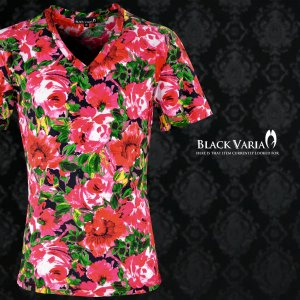 Tシャツ 花柄 バラ 水彩 絵画 Vネック 半袖Tシャツ メンズ(ピンクレッド赤) 163216|mroutlet