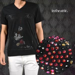 Tシャツ ミッキーマウス ギター ラインストーン キャラクター Vネック 半袖Tシャツ メンズ(ブラック黒) 1629026|mroutlet