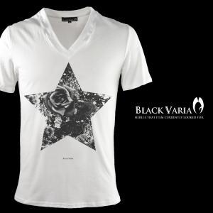 Tシャツ 星 スター バラ 薔薇柄 花柄 Vネック 半袖Tシャツ メンズ(ホワイト白) zkk035