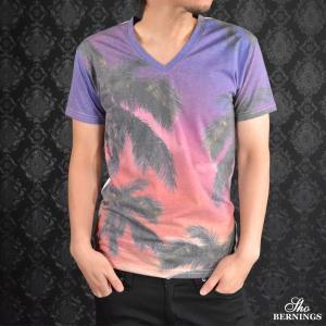 Tシャツ Vネック ヤシ柄 椰子 空 雲 ビーチ プリント 切り替え リゾート 半袖 メンズ(パープル紫) 309022|mroutlet