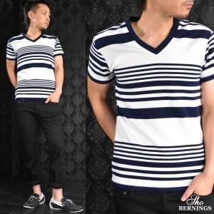 Tシャツ Vネック ランダムボーダー 半袖Tシャツ メンズ(ホワイト白ネイビー紺) 311721|mroutlet