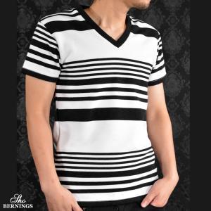 Tシャツ Vネック ランダムボーダー 半袖Tシャツ メンズ(ホワイト白ブラック黒) 311721|mroutlet