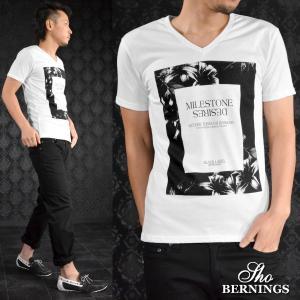 Tシャツ Vネック 花 ボタニカル ロゴ プリント 半袖Tシャツ メンズ(ホワイト白) 341922|mroutlet