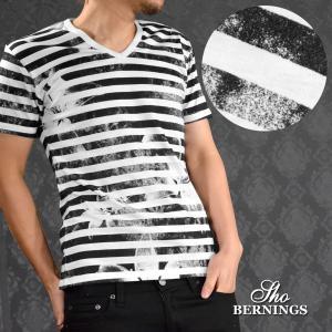 Tシャツ Vネック ボーダー 花柄 プリント 半袖Tシャツ メンズ(ホワイト白ブラック黒) 342022|mroutlet