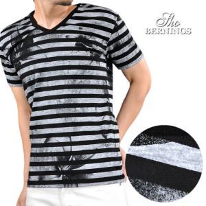 Tシャツ Vネック ボーダー 花柄 プリント 半袖Tシャツ メンズ(ブラック黒ホワイト白) 342022|mroutlet