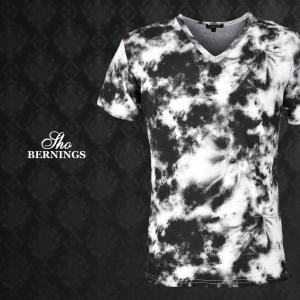 Tシャツ Vネック ムラ タイダイ 総柄 半袖Tシャツ メンズ(ホワイト白ブラック黒) 342122|mroutlet