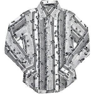 ドレスシャツ スキッパー バラ 薔薇 花柄 ストライプ サテンシャツ 日本製 結婚式 メンズ(ホワイト白ブラック黒) 935134|mroutlet