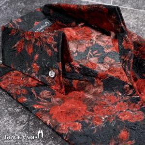 シャツ スキッパー 薔薇 バラ柄 花柄 ドレスシャツ サテンシャツ ボタンダウン 日本製 結婚式 メンズ(レッド赤ブラック黒) 935135|mroutlet