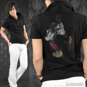 ポロシャツ MICKEY MOUSE ミッキーマウス ギター ラインストーン 半袖ポロ メンズ(ブラック黒) 1629106|mroutlet