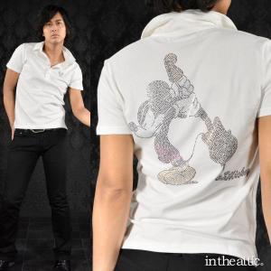ポロシャツ MICKEY MOUSE ミッキーマウス ギター ラインストーン 半袖ポロ メンズ(ホワイト白) 1629106 mroutlet