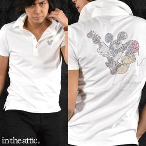 ポロシャツ MICKEY MOUSE ミッキーマウス ギター ラインストーン 半袖 メンズ(ホワイト白) 1629116 mroutlet
