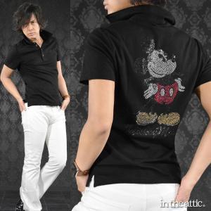 ポロシャツ ミッキーマウス MICKEY MOUSE ラインストーン キャラクター 半袖ポロ メンズ(ブラック黒) 1629156|mroutlet
