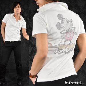 ポロシャツ ミッキーマウス MICKEY MOUSE ラインストーン キャラクター 半袖ポロ メンズ(ホワイト白) 1629156|mroutlet
