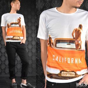 【Sale】Tシャツ クルーネック 車 セクシーガール 水着 プリント 半袖 メンズ(ホワイト白オレンジ橙) 64361|mroutlet