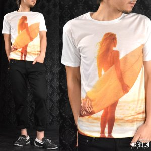 Tシャツ クルーネック 車 セクシーガール サーフィン プリント 半袖 メンズ(ホワイト白オレンジ橙) 64361|mroutlet