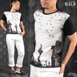 【Sale】Tシャツ クルーネック クロス カラス 墓 烏 十字架 半袖Tシャツ メンズ(ブラック黒ホワイト白) 64368|mroutlet