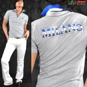[ラスト1点] VIOLA rumore ヴィオラルモア ポロシャツ バックプリント スキッパー 半袖 メンズ(チャコールグレー灰) 61344 mroutlet