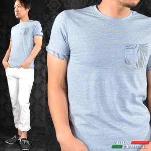 【Sale】VIOLA rumore ヴィオラルモア Tシャツ クルーネック 胸ポケット リーフ柄 無地 半袖 メンズ(ライトブルー青) 61349 mroutlet