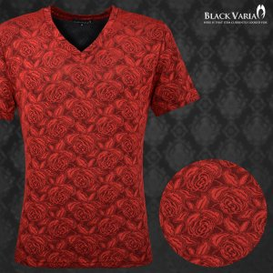 Tシャツ Vネック 薔薇柄 バラ 花柄 織柄 半袖Tシャツ メンズ(レッド赤) 163218|mroutlet