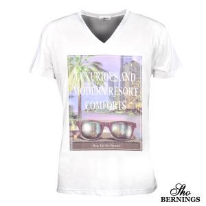 Tシャツ Vネック プリント サングラス 英字 ビル 夜景 半袖Tシャツ メンズ(ホワイト白パープル紫) 308822|mroutlet