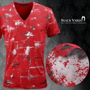 【Sale】Tシャツ ムラ柄 箔 Vネック 半袖Tシャツ メンズ(レッド赤シルバー銀) bvgt19|mroutlet