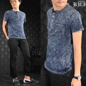 ヘンリーネック ブリーチ ムラ ケミカル カットデニム 半袖Tシャツ メンズ(ブルー青) 64374|mroutlet