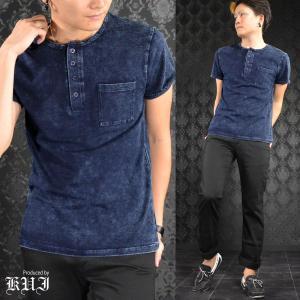 ヘンリーネック ブリーチ ムラ ケミカル カットデニム 半袖Tシャツ メンズ(ネイビー紺ブルー青) 64374|mroutlet