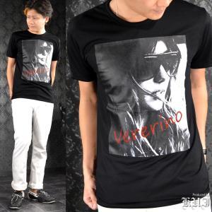 Tシャツ クルーネック フォトプリント 外人 レディ セクシー 半袖Tシャツ メンズ(ブラック黒) 64386|mroutlet