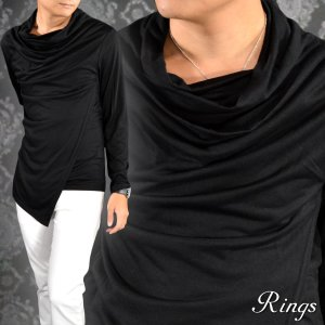 Tシャツ ドレープ ロング アシメ 変形 フェイクレイヤード 無地 長袖 メンズ(ブラック黒) 136317|mroutlet
