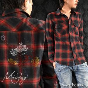 チェックシャツ Disney ディズニー MICKEY MOUSE ミッキーマウス  ラインストーン レギュラーカラー ネルシャツ メンズ(レッド赤ブラック黒) 1639010|mroutlet