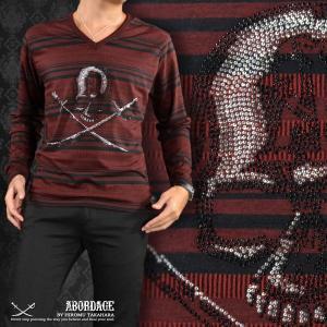 ABORDAGE アボルダージュ スカル ラインストーン ボーダー Vネック 長袖 Tシャツ メンズ(ボルドー赤ブラック黒) ad1634316|mroutlet