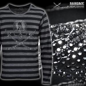 ABORDAGE アボルダージュ Tシャツ スカル 髑髏 ラインストーン ボーダー Uネック 長袖 メンズ(ブラック黒) ad1634366|mroutlet