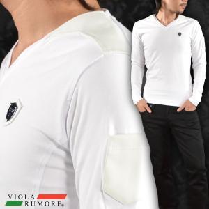 VIOLA rumore ヴィオラルモア Tシャツ Vネック 合皮 切替 クロス 無地 長袖 メンズ(ホワイト白) 71140 mroutlet