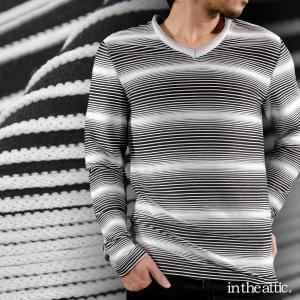 Tシャツ Vネック ピンタック グラデーション ボーダー メンズ 長袖Tシャツ(ホワイト白ブラック黒) 1631486|mroutlet
