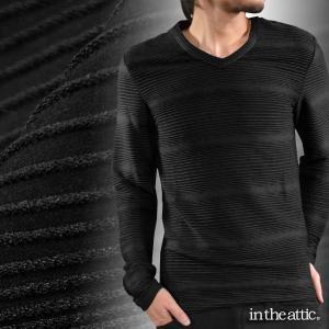 Tシャツ Vネック ピンタック グラデーション ボーダー メンズ 長袖Tシャツ(ブラック黒) 1631486|mroutlet