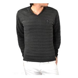 ABORDAGE アボルダージュ セーター Vネック ニット ジグザグ スカル ラインストーン 長袖 メンズ(ブラック黒グレー灰) ad1644106|mroutlet