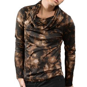 タートルネック ムラ柄 カットソー メンズ オフタートル ボリュームネック 長袖 Tシャツ(ブラウン茶ブラック黒) 965|mroutlet