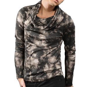 タートルネック ムラ柄 カットソー メンズ オフタートル ボリュームネック 長袖 Tシャツ(グレー灰ブラック黒) 965|mroutlet