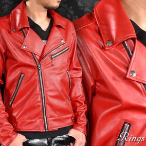 ダブルライダース PU フェイクレザー 合皮 革 ダブル メンズ 革ジャン シンプル ジャケット(レッド赤) 146104|mroutlet