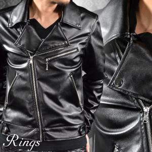 ダブルライダース PU フェイクレザー 合皮 革 ダブル メンズ 革ジャン シンプル ジャケット(ブラック黒) 146104|mroutlet