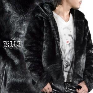 ファージャケット 無地 シンプル メンズ フェイクファー ジップアップ パーカー ジャケット ブルゾン(ブラック黒) 49104|mroutlet