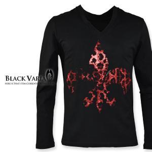 Tシャツ Vネック 豹柄 ヒョウ ユリ 紋章 長袖Tシャツ ロンT メンズ(ブラック黒) zkk045ls