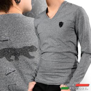 VIOLA rumore ヴィオラルモア Tシャツ ラインストーン 豹 アニマル メンズ 迷彩ジャガード 長袖(チャコールグレー灰) 71204 mroutlet