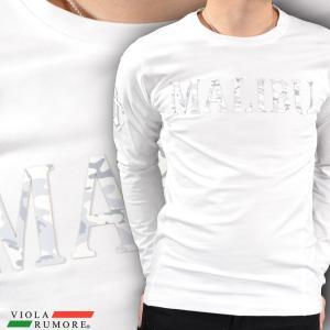 VIOLA rumore ヴィオラルモア Tシャツ クルーネック ワッペン 迷彩 MALIBU メンズ 細身 長袖Tシャツ(ホワイト白) 71206 mroutlet