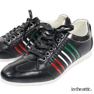 スニーカー パンチング メッシュ メンズ イタリアンカラーライン ラインスニーカー 靴(ブラック黒) 1751598 mroutlet
